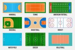 Creatieve vectorillustratie van de gebieden van het sportspel merken geïsoleerd op achtergrond Grafisch element voor handbal, ten stock illustratie