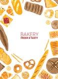 Creatieve verticale die achtergrond met grens van smakelijke broden, broodjes, baguettes, ongezuurde broodjes, croissants, pretze stock illustratie