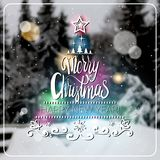 Creatieve Vrolijke Kerstmis en Nieuwjaar 2018 Affiche over de Vage Winter Forest Background Greeting Card Design Vector Illustratie
