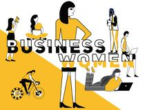 Creatieve Word concepten Bedrijfsvrouw en Mensen die dingen doen royalty-vrije illustratie
