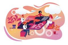 Creatieve Zaken Team Sitting rond Raadsellijst stock illustratie