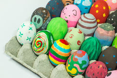 Creating art on eggs for Easter. Royalty Free Stock Photo