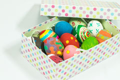 Creating art on eggs for Easter. Royalty Free Stock Photography