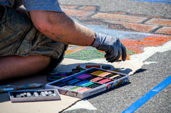 Creating art on the street Royalty Free Stock Image