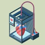 Creating artificial heart on three dimensional printer vector illustration vector illustration