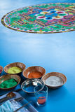 Creating a Buddhist sand mandala. Stock Photography