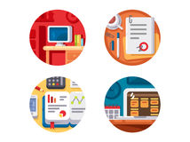 Creating business or creative project. Icons idea and startup. Vector illustration royalty free illustration