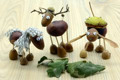 Creating acorn chestnut figures like horse and deer in autumn time. childhood tinker.  royalty free stock image