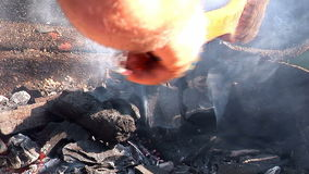 Creating Coal Barbecue Fire stock video footage