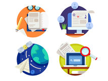 Creating and correcting articles. Finding information on internet. Vector illustration Royalty Free Stock Images