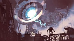 Creating the dark monster by the gears. Sci-fi scene of the giant machine with blue light creating a monster in old factory, digital art style, illustration vector illustration