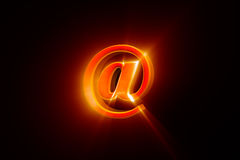 Creating an e-mail (@ - symbol). 3D illustration rendering. Royalty Free Stock Photography