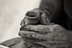 Creating an earthen jar Stock Photo