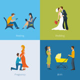 Creating a family. Meeting, wedding, pregnancy Royalty Free Stock Images