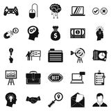Creating game icons set, simple style. Creating game icons set. Simple set of 25 creating game vector icons for web isolated on white background Stock Photos