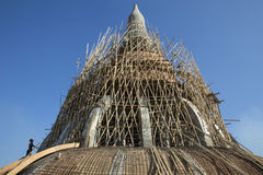 Creating a great pagoda. The new construction of great  pagoda in the district Myawaddy , Karen State , Myanmar Stock Image