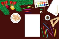 Creating home Christmas decorations concept vector. Top view of the wooden desk with Christmas decoration and school supplies ready for creating home Christmas Stock Images