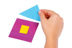 Creating home of colored paper Royalty Free Stock Photo