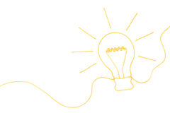 Creating an Idea, yellow string forms into lightbulb, business concept Royalty Free Stock Images