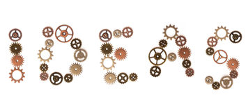Creating Ideas. Gears forming the word Idea / Ideas Royalty Free Stock Image