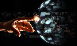 Creating innovative technologies. Mixed media Royalty Free Stock Photo