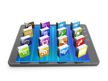 Creating mobile applications. For mobile technology. Tablet computer and group of mobile icon Royalty Free Stock Images