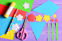 Creating paper crafts for mother`s day or birthday. Step. Cut details to making a paper bouquet for mom Royalty Free Stock Images