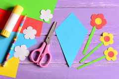 Creating paper crafts for mother`s day or birthday. Step. Guide. Details to making a paper bouquet for mommy. Mother`s day paper gift. Birthday paper gift stock photography