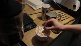 Creating a Pattern of Caramel Syrup on Cappuccino stock video footage