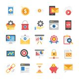 Flat Vector Icons Seo and Marketing. Creating a relevant, impressive and unique projects it is important to add visuals and graphics that would make your project Royalty Free Stock Image
