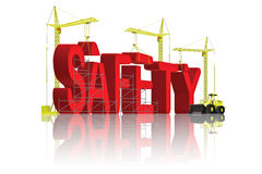 Creating safety security building protection. Tower cranes creating 3D word safety or security building protection concept vector illustration