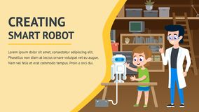 Creating Smart Robot. Garage Engineering Workshop. Young Teacher Character and Smart Boy Together in Modern Future Invention Project. Computer Science School royalty free illustration