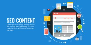 Content for website, search engine optimization, website seo, marketing, ranking, result concept. Flat design seo illustration. Creating technical content for Royalty Free Stock Photography