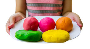 Colorful play dough. Creating toys from play dough, Homemade toy Royalty Free Stock Photography