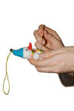 Creating toys wool. Creating snowman toys by wallow from wool Royalty Free Stock Photos