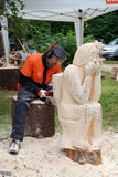 Creating Wood Sculpture Stock Images