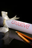 Creation. Creative with pencils and ribbon. It's suitable for creation setting Royalty Free Stock Image