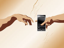 Creation of Adam and cellphone Stock Photography