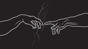 The Creation of Adam. Fragment (Invert version) Royalty Free Stock Photo
