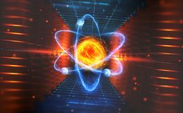 Creation of artificial intelligence. Experiments with the hadronic collider. Investigation of the structure of an atom royalty free illustration
