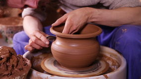 Creation of a clay pot stock footage