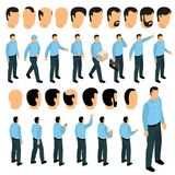 Creation Constructor Male Set. Male character creation constructor with  body poses and various types of hairstyle in front side back view isolated vector Royalty Free Stock Images