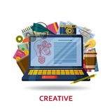 Creation of creative content for the web site. Background with laptop with infographic elements and abstract contents. Vector illustration stock illustration