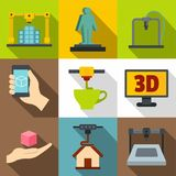 Creation on a 3d machine icons set, flat style. Creation on a 3d machine icons set. Flat set of 9 creation on a 3d machine vector icons for web with long shadow Stock Photos
