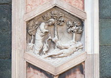 Creation of Eve, Florence Cathedral. Creation of Eve by Andrea Pisano, 1334-36., on Giotto Campanile of Cattedrale di Santa Maria del Fiore Cathedral of Saint stock photography
