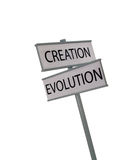 Creation Evolution. Creation and Evolution street signs Royalty Free Stock Images