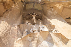 Creation of famous architect Gaudi, temple of Sagrada Familia in Barcelona, Spain. Jesus Christ was crucified on the cross, sculpture royalty free stock photos