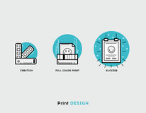 Creation, full color print, success flat illustration Set of lin. E modern icons for print design business and graphic design Royalty Free Stock Photo