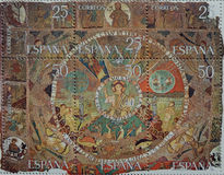 Creation of God. Philately in this little leaf block teaches us a tapestry CathedralGerona. Dios in the center and creative to days around where you can see the Stock Photography