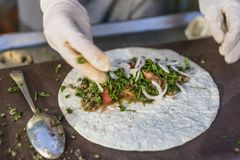 Healthy tortilla wrap preparation stock photos